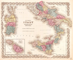Fototapete - 1855, Colton's Map of Southern Italy, Sicily, Sardinia and Malta