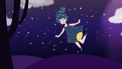 Happy journey-flying girl in a magical world