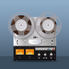 Old bobbin tape recorder. Vintage Analog Reel Tape Recorder. Retro technologies. Vector illustration