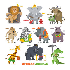 African animals vector cartoon wild animalistic characters lion king elephant fireman security gorilla in safari illustration set of crocodile zebra hippo isolated on white background
