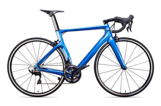 blue carbon racing sport road racer bike bicycle racer isolated