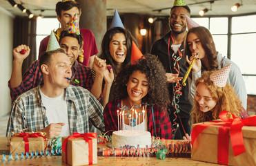 Friends having fun at birthday party