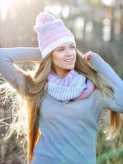 Beautiful blonde girl outdoor portrait