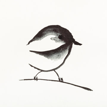 sparrow bird on twig is hand drawn on creamy paper