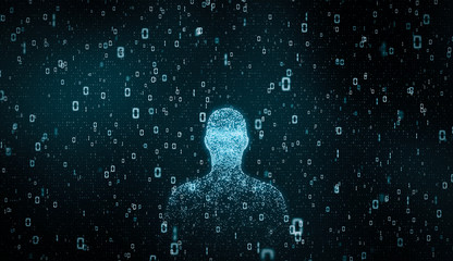 Futuristic digital particle Human face with number. Future artificial intelligence technology concept background. 3d rendering