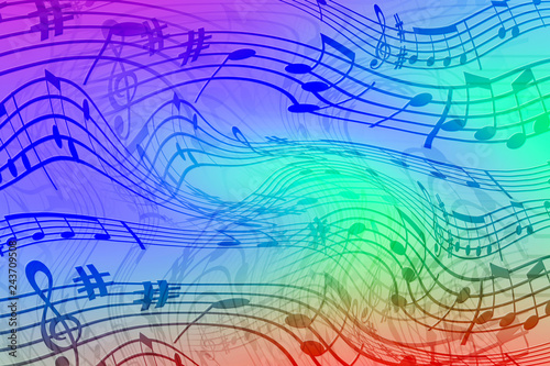 Abstract colored background on the theme of music
