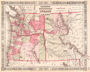 1864, Johnson Map of Washington, Oregon, and Idaho