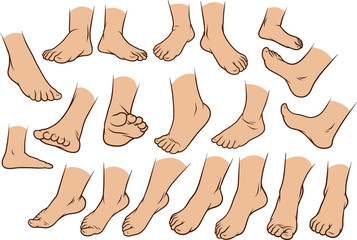 Cartoon white man or woman foots gesture set. Different foot positions. Vector icons.