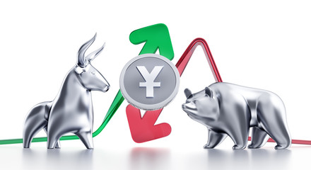 Bullish And Bearish Trends Of Yuan. Currency coin of the Chinese Yuan in between of metallic statuettes of a bull and a bear in front of trending arrows. 3D rendering graphics on white background.