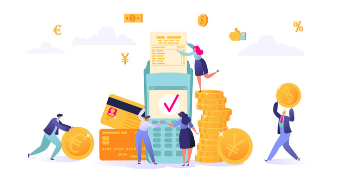 Concept of online banking, money transaction technology. Business and finance theme. Credit card and payment terminal. Business people pay coins cash. Flat People Characters Making Money.
