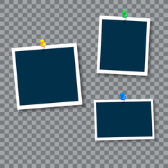 Photo frames with clip, vector.