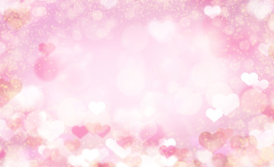 Valentine Day background with bokeh hearts