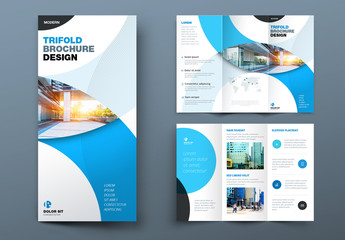 Blue Trifold Brochure Layout with Circles