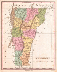1827, Finley Map of Vermont, Anthony Finley mapmaker of the United States in the 19th century