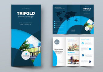 Dark Blue Trifold Brochure Layout with Circles