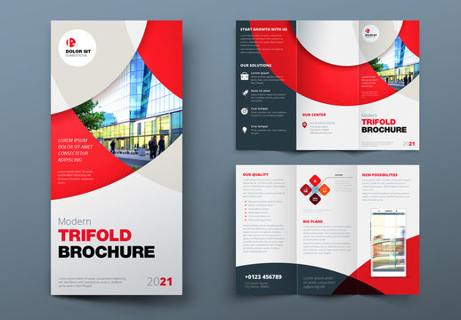 Red Trifold Brochure Layout with Circles