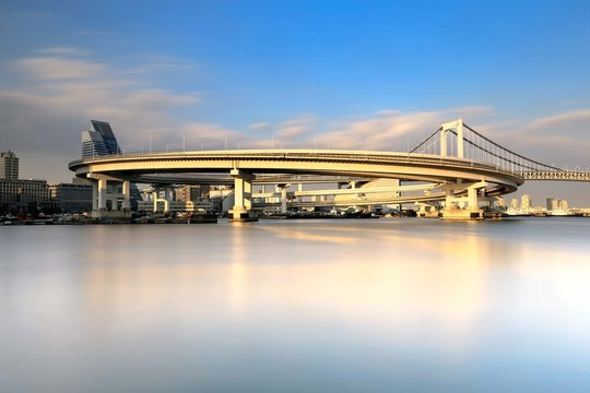 Rainbow Bridge and Odaiba waterfront, Tokyo, Japan
