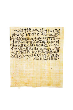 Papyrus containing the anthem of Sekhmet-Bast, daughter of Ra Egyptian Book of the Dead, chapter CLXIV 164 in hieratika. Handpainted with ink now. Isolated.