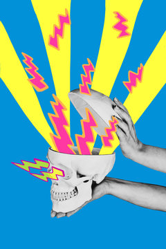 Mixed media representation of a person opening a skull with graphic thunderbolts coming out of it