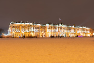 city skyline at night, the building of the Hermitage in St. Petersburg