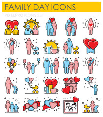 Familys day outline color icons on white background for graphic and web design, Modern simple vector sign. Internet concept. Trendy symbol for website design web button or mobile app