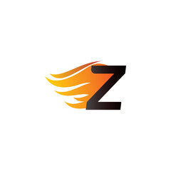 Letter Z Burning Fire Logo