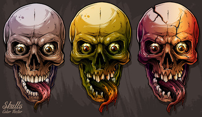 Detailed graphic realistic cool colorful human skulls with horrible long tongue and eyes. On gray grunge background. Vector icon set.