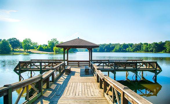 Wooden pier and pagoda, Shreveport, Louisiana, United States