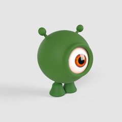 A little, green, spherical aline with one single eye. 3d Render