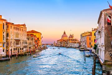 Grand Canal with Basilica di Santa Maria della Salute in Venice, Italy. View of Venice Grand Canal. Architecture and landmarks of Venice. Venice postcard