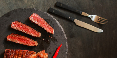 meat, steak, beef (piece). top copy space