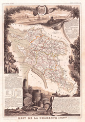 Wall Mural - France Map of the Department De La Charente Maritime, 1852, Levasseur