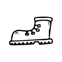 Hand Drawn boot doodle. Sketch style icon. Decoration element. Isolated on white background. Flat design. Vector illustration