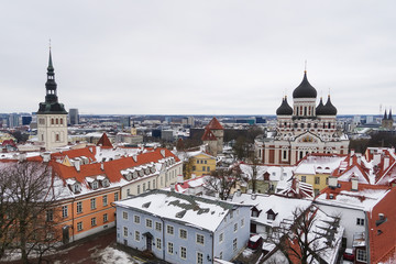 Panorama of the old town of Tallinn in Estonia. Spring in Europe.