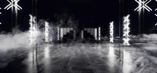 Sci Fi Futuristic Modern Cross Shaped Neon Led Lights Scene Stage On Grunge Reflective Concrete Empty Hall Dark White  Glowing Smoke And Fog 3D Rendering - fototapety na wymiar