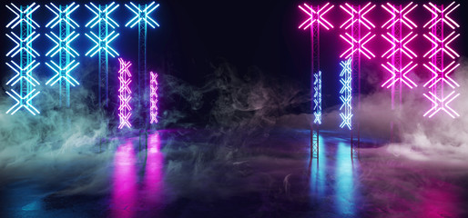 Sci Fi Futuristic Modern Cross Shaped Neon Led Lights Scene Stage On Grunge Reflective Concrete Empty Hall Dark Purple Blue Glowing Smoke And Fog 3D Rendering