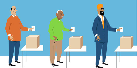 Diverse male voters putting ballot in a box, EPS 8 vector characters