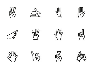 Gestures line icon set. Set of line icons on white background. Finger, hand, signs. Communication concept. Vector illustration can be used for topics like human, connection, gesture system