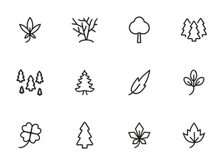 Leaves and trees line icon set. Set of line icons on white background. Nature concept. Leaf, tree, forest. Vector illustration can be used
