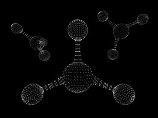 Abstract polygonal molecule structure icon. low poly biological connected cell. Connection technology mesh geometric DNA 3D render. Polygonal science technology. Formula particle cell.