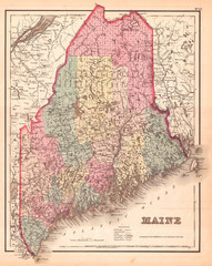 Fotomurales - 1857, Colton Map of Maine