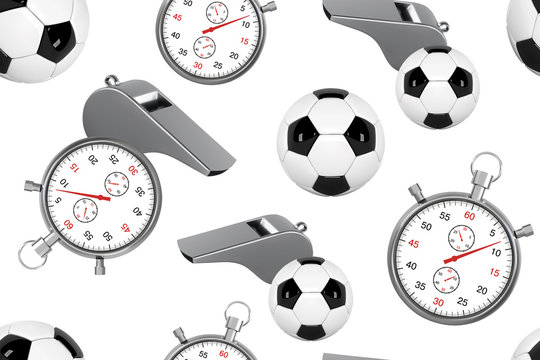 Seamless pattern with soccer ball, whistle and stopwatch. 3D Football set of icons with referees objects, seamless background vector illustration.