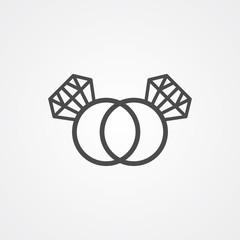 Diamond ring vector icon sign symbol