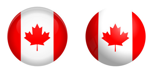 Canada flag under 3d dome button and on glossy sphere / ball.