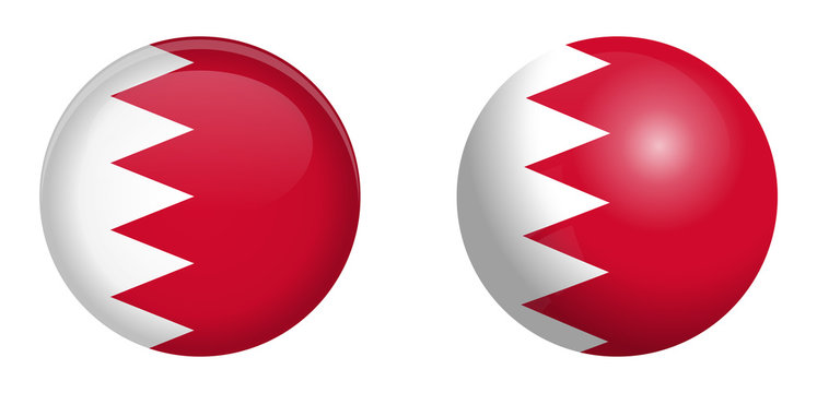 Bahrain flag under 3d dome button and on glossy sphere / ball.