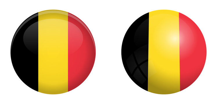Belgium flag under 3d dome button and on glossy sphere / ball.