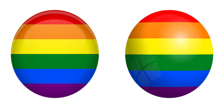 LBGT flag under 3d dome button and on glossy sphere / ball.