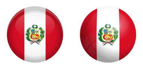 Peru flag under 3d dome button and on glossy sphere / ball.