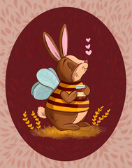 rabbit in a bee costume.