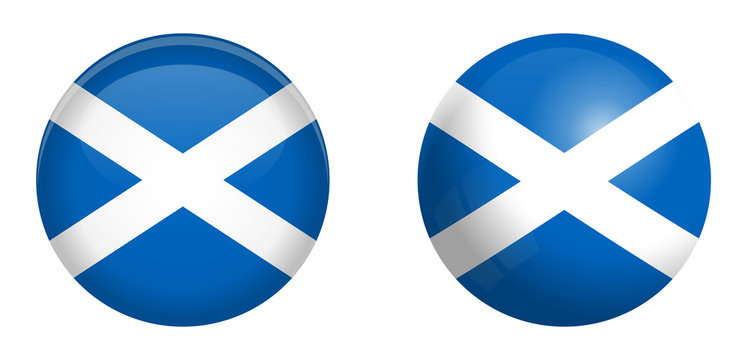 Scotland flag under 3d dome button and on glossy sphere / ball.